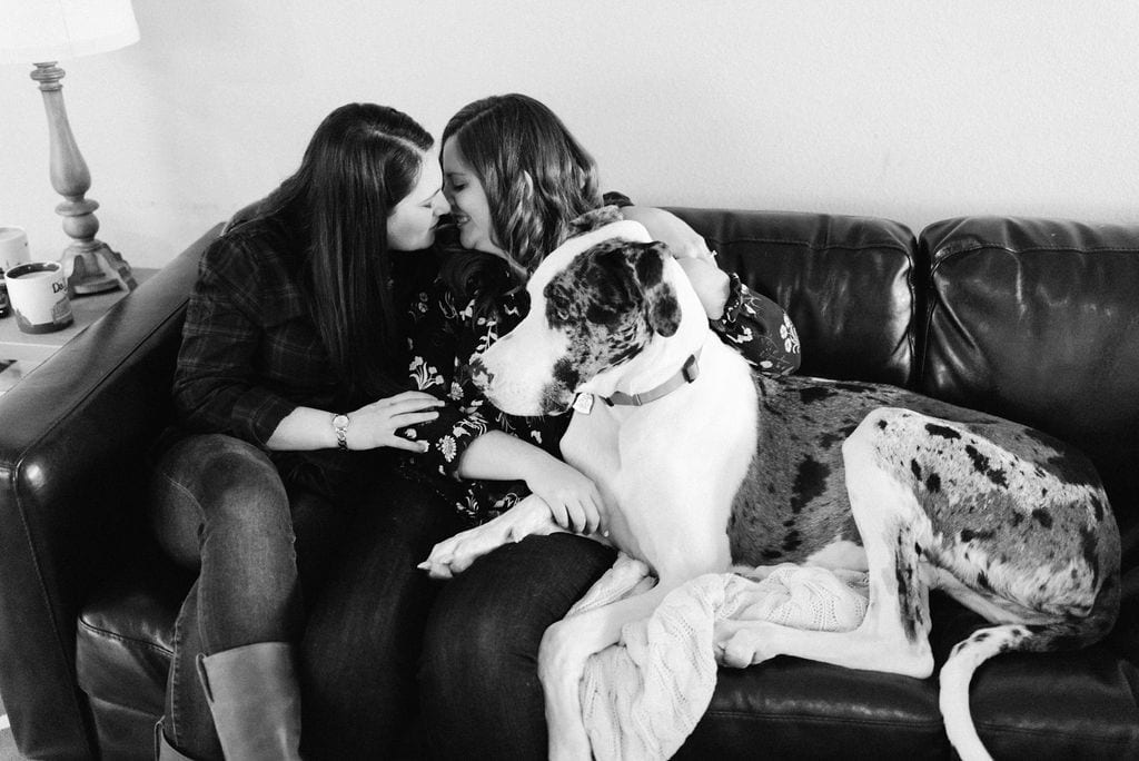 LGBTQ In Home Engagement Session with Great Dane