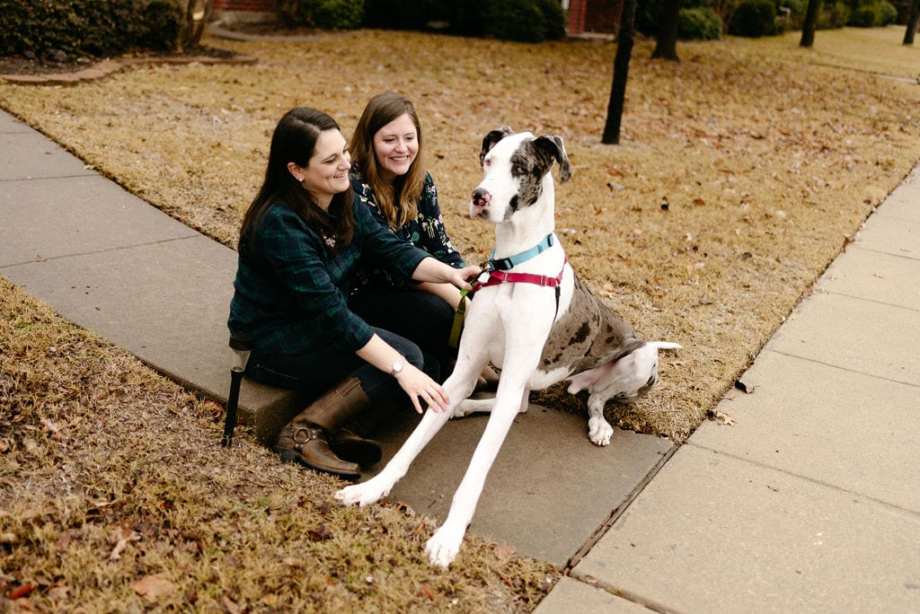 Married LGBTQ Couple At Their Home with their great dane
