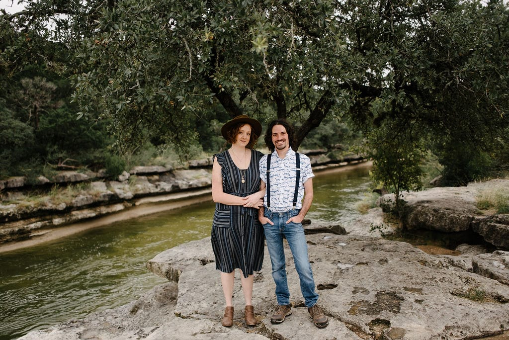 Engagement photos with suspenders. Hipster Engagement Photos