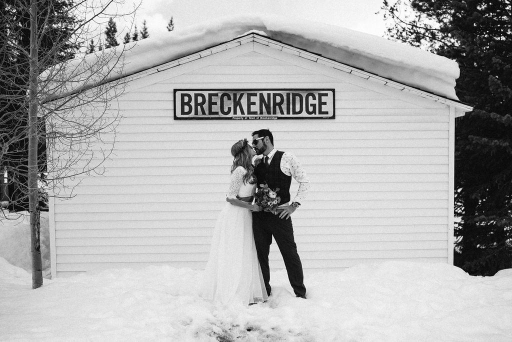 Snowy wedding portraits in Breckenridge Colorado