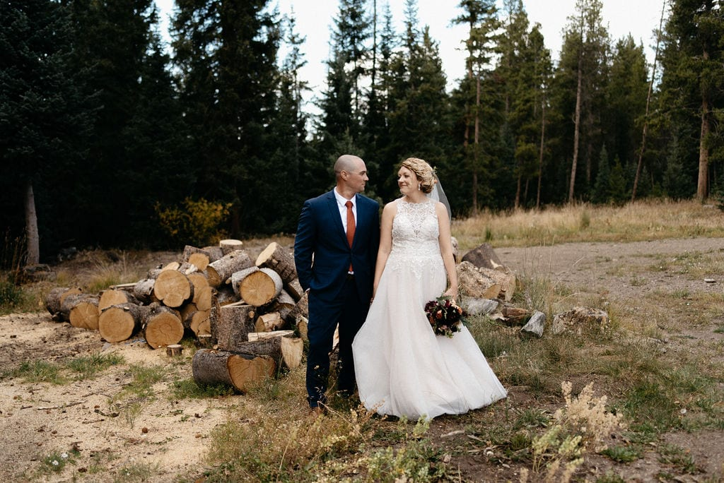 Bride and groom at their breckenridge wedding