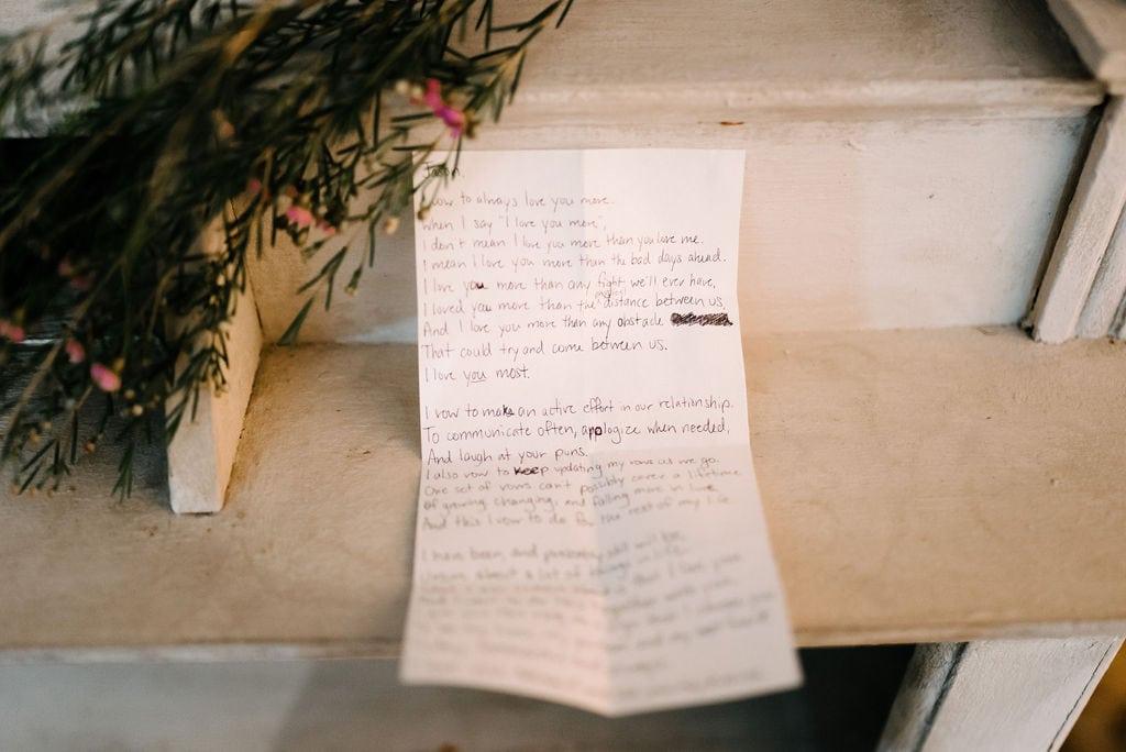Handwritten wedding vows