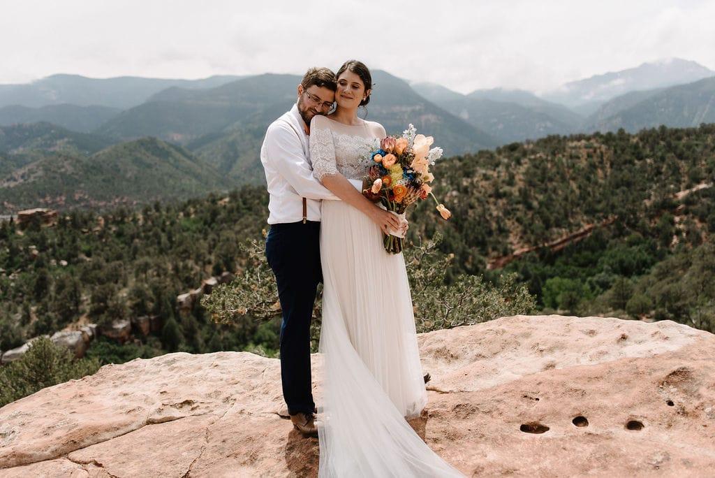 boho mountain wedding portraits