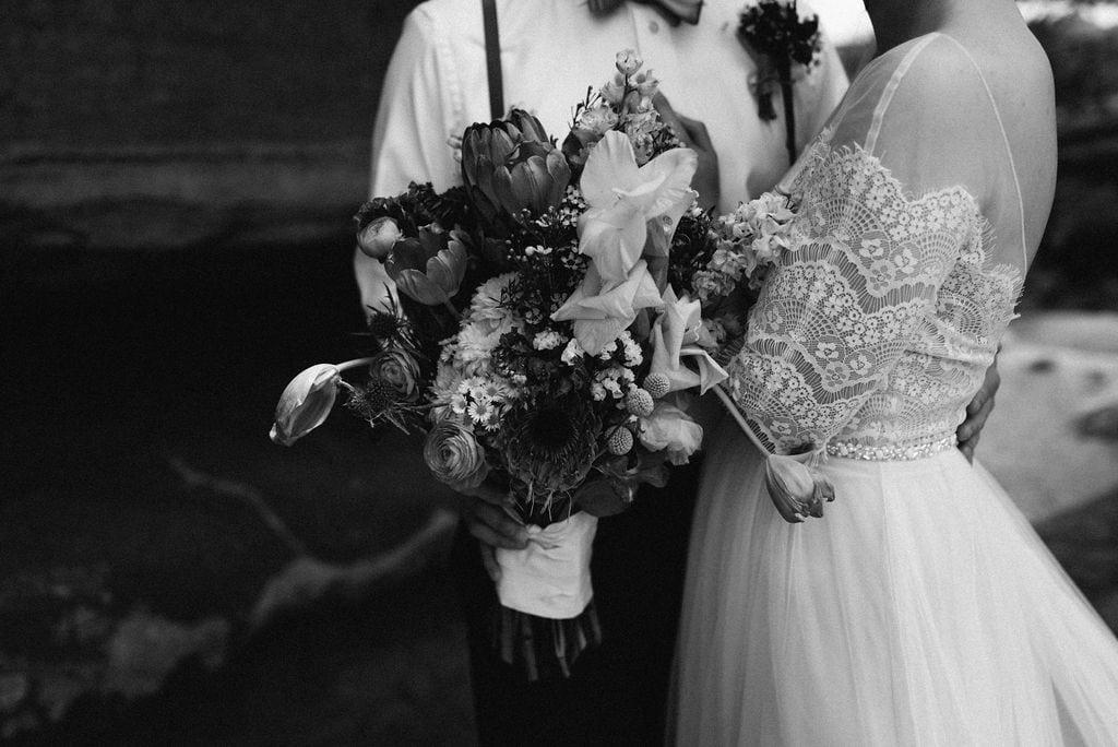 moody bride and groom portrait