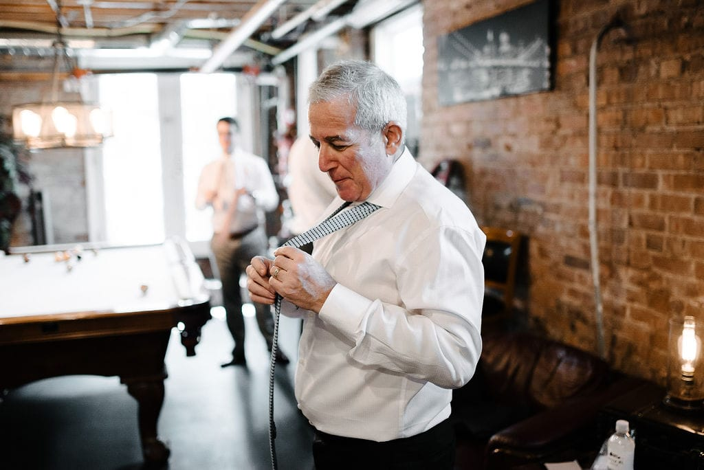 Father getting ready for wedding