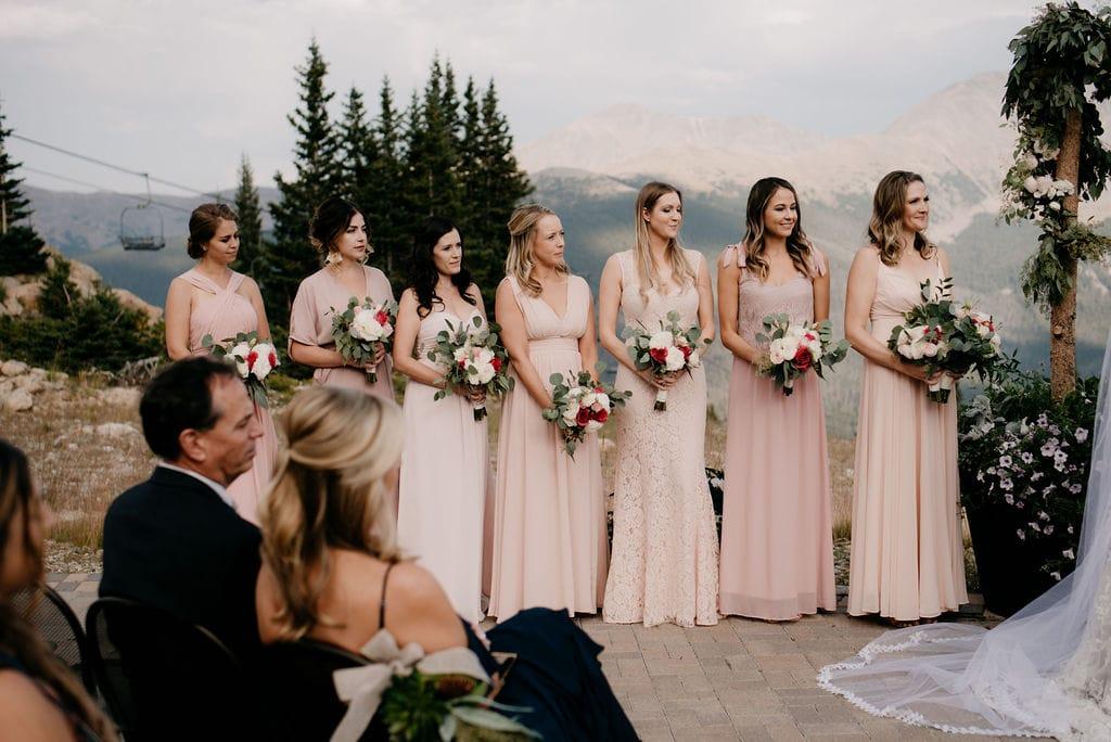 Bridesmaids at a mountain wedding