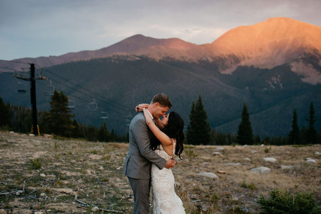 Romantic Bride and Groom Portraits in Winter Park, Colorado