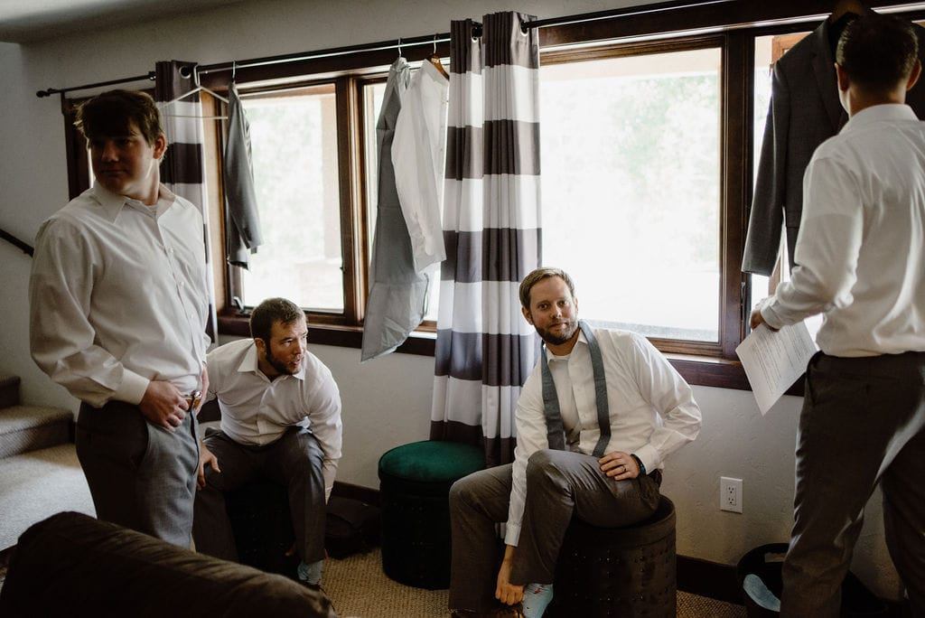 Groomsmen hanging out getting ready