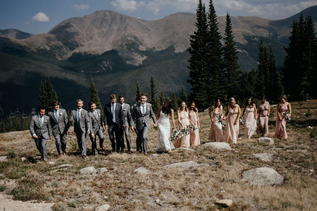 Bridal Party At The Top of A Mountain in Winter Park Colorado