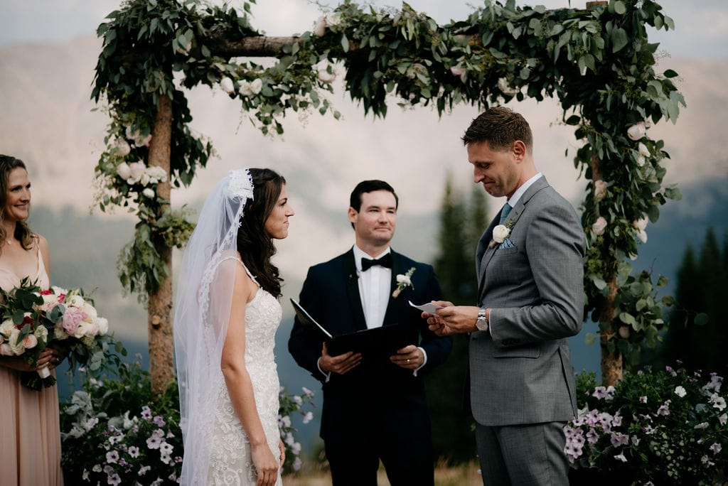 Bride and Groom exchanging Vows in Winter Park