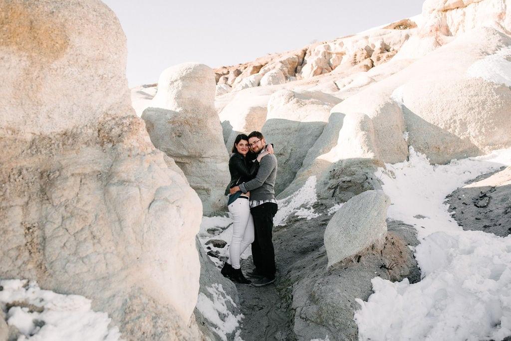 snowy paint mines engagement photos