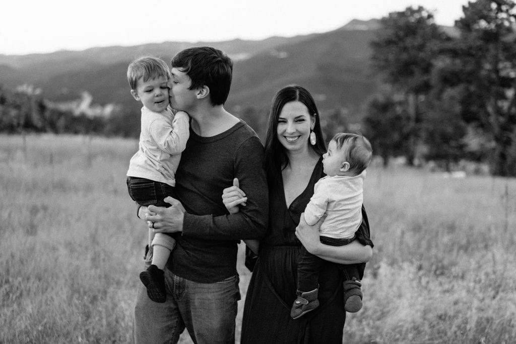 Adorable family in Colorado mountains