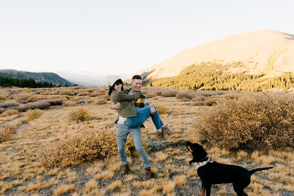 Mountain Engagement Sessions with Dogs