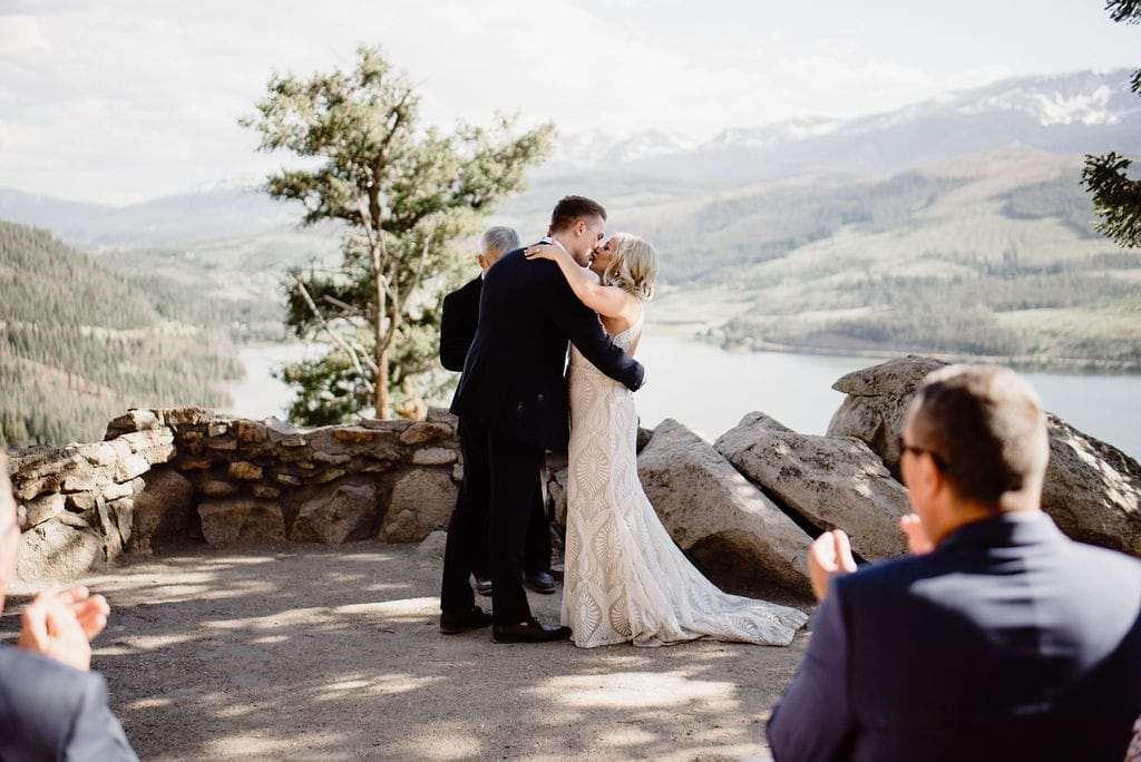 Bride and Groom first kiss at Sapphire Point
