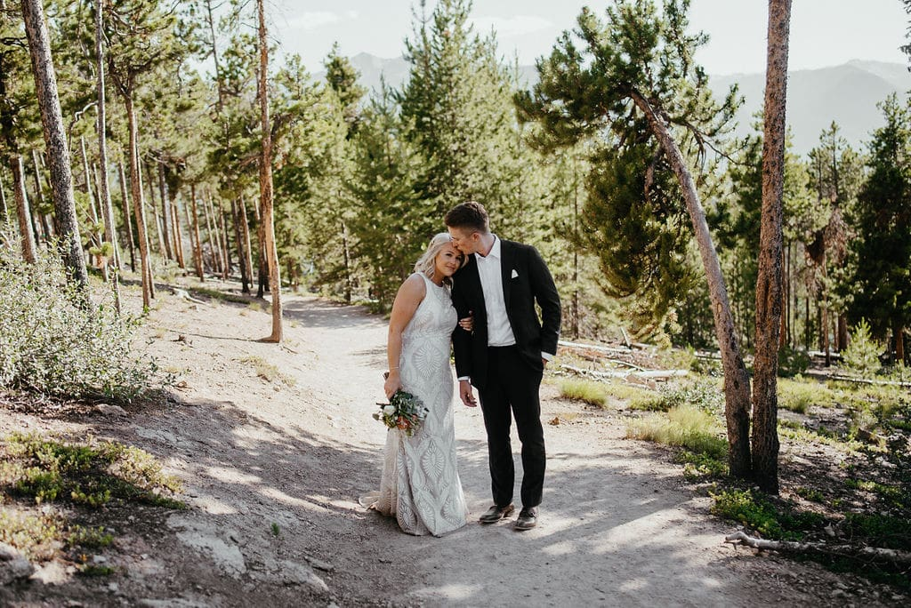 Bride and Groom on Hiking Trail