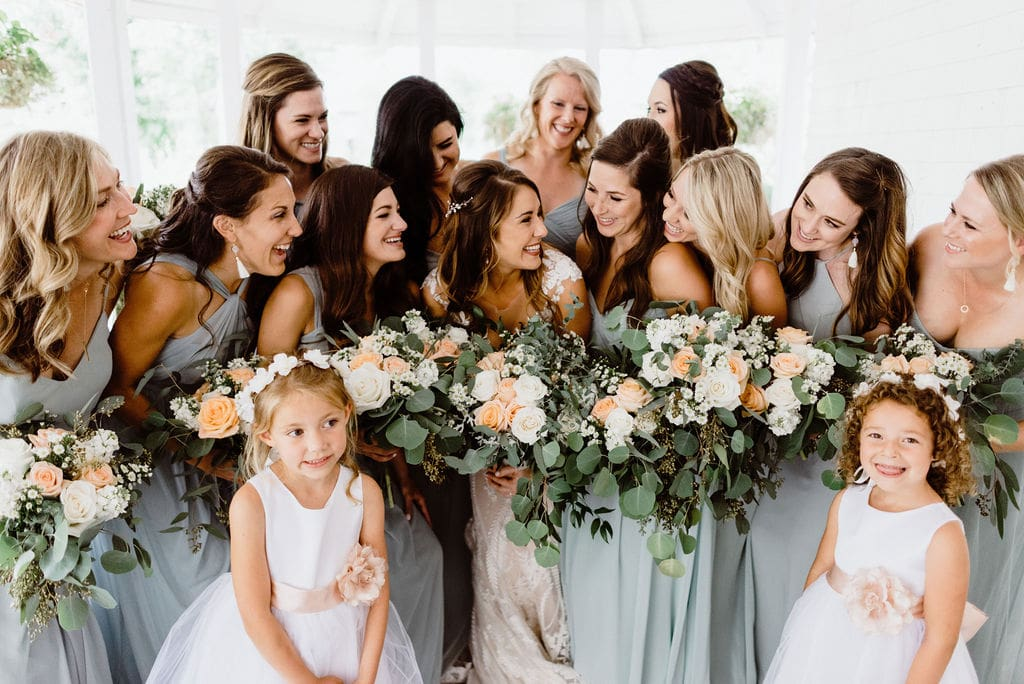 Bride and Bridesmaids with powder blue dresses
