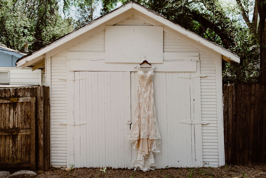 Beautiful hanging wedding dress