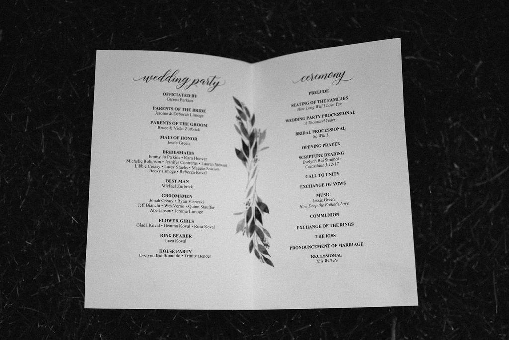 Ceremony Program for Wedding