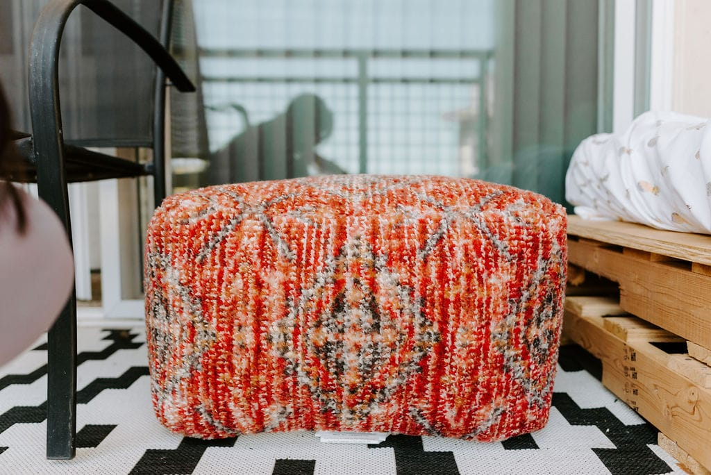 cute red and brown persian pouf from target