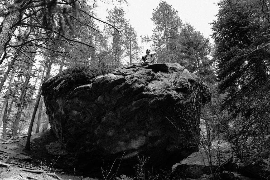 Giant rock on the maxwell falls hike in evergreen colorado