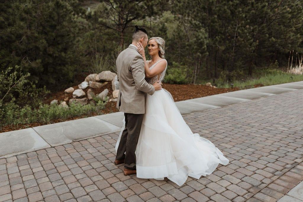 First look between bride and groom at Della Terra in Estes Park