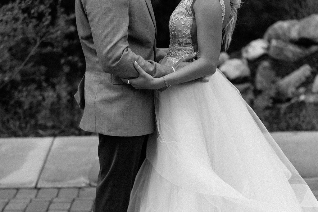 Romantic First look between bride and groom at Della Terra in Estes Park