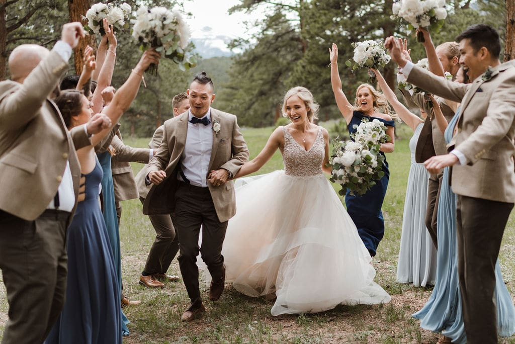 Bride, Groom, and their bridal party