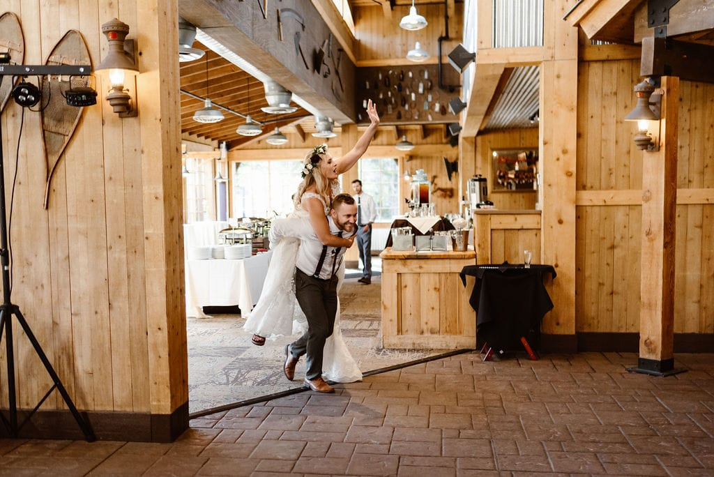 Bride and groom entrance to reception