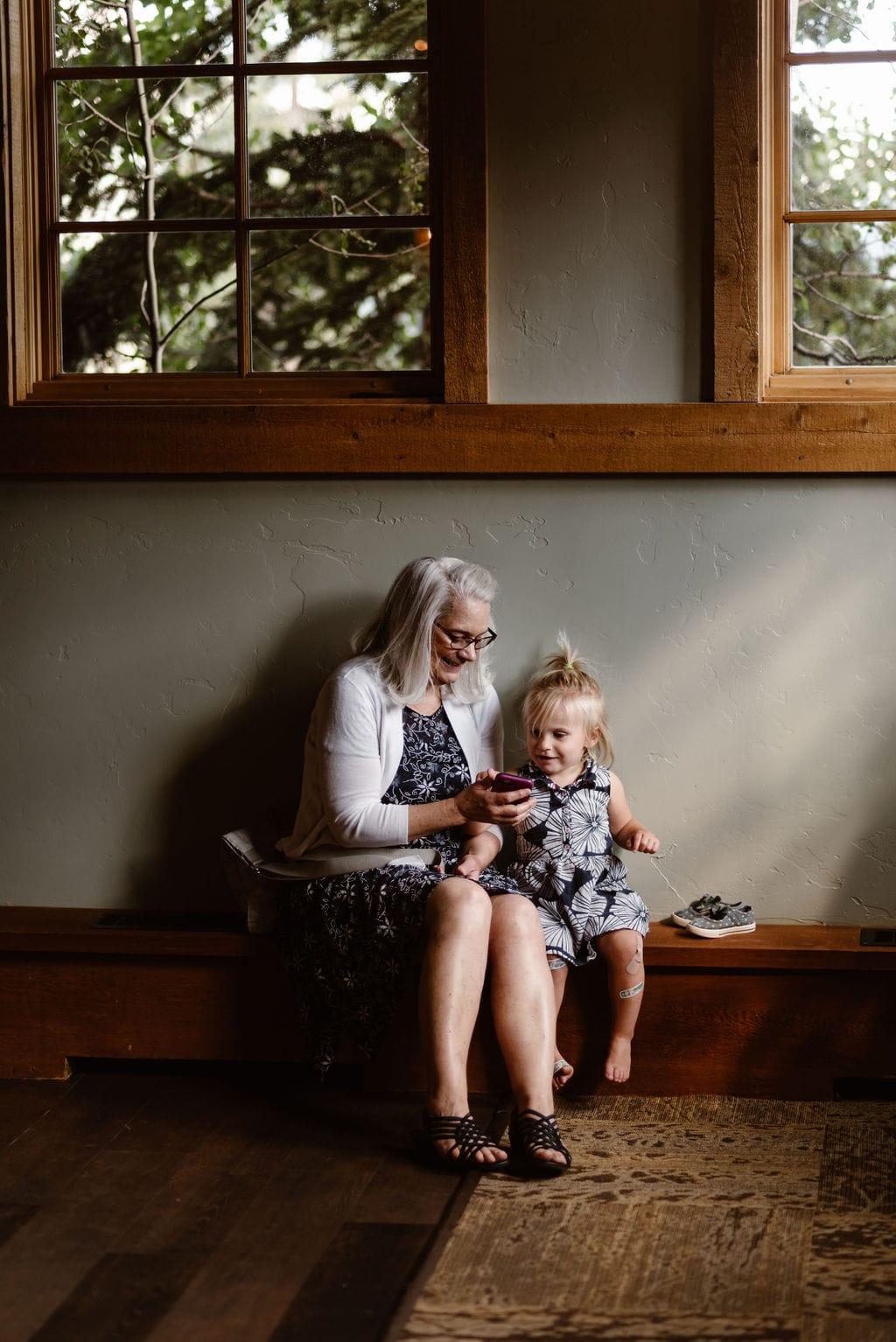 Grandma and child at wedding