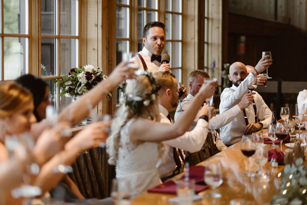 Toasts at breckenridge wedding
