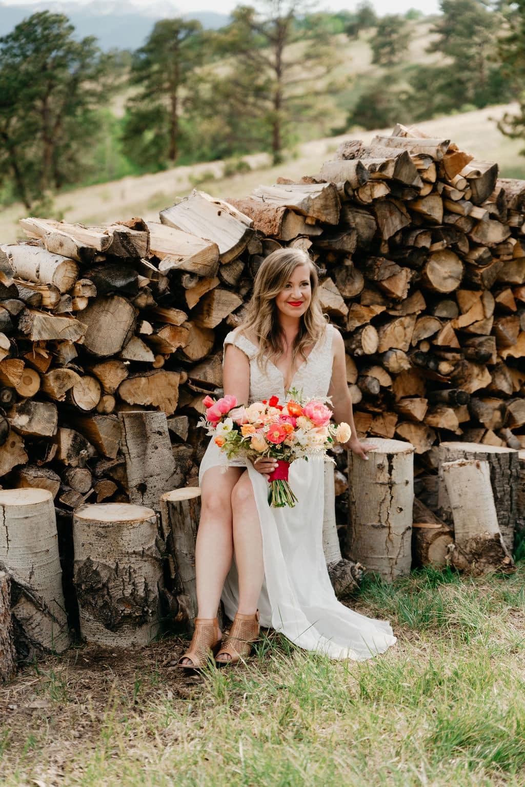 Bridal portraits on new elopement location in golden colorado