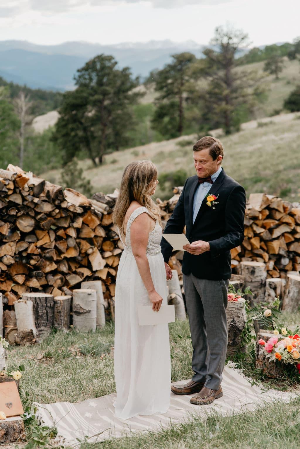 Colorado Elopement in Golden, Colorado saying their vows