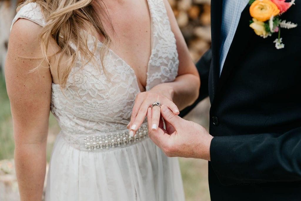 Colorado Elopement in Golden, Colorado exchanging rings