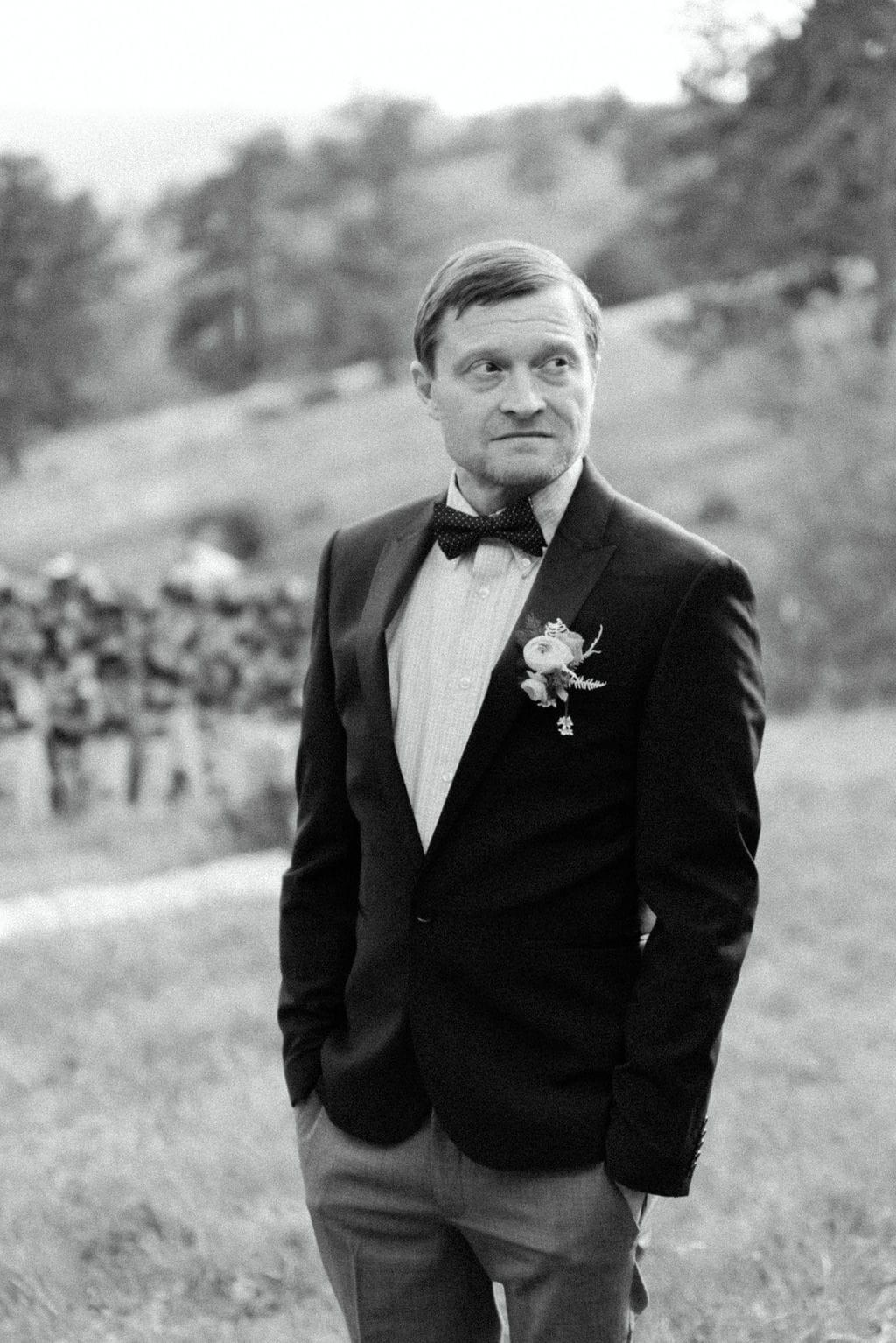 groom portrait elopement in golden