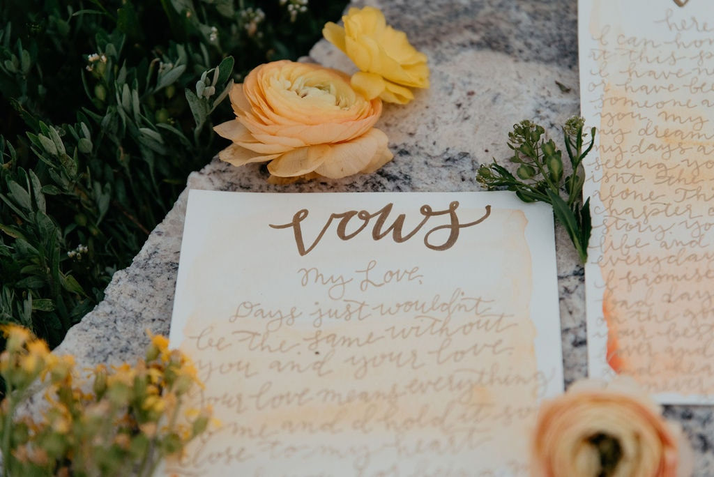Sweet vows on paper with florals