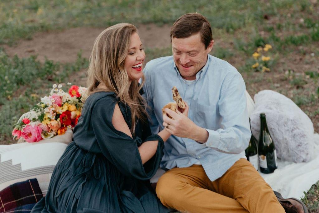 Cookie breaking at colorado elopement