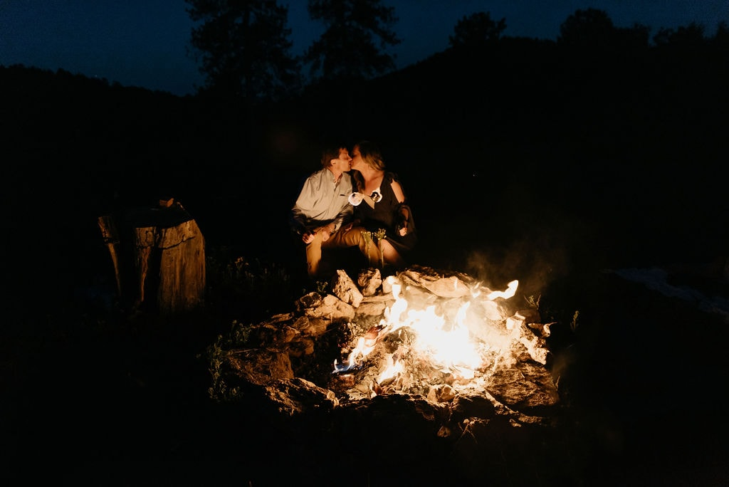 Elopement locations in colorado with a fire pit