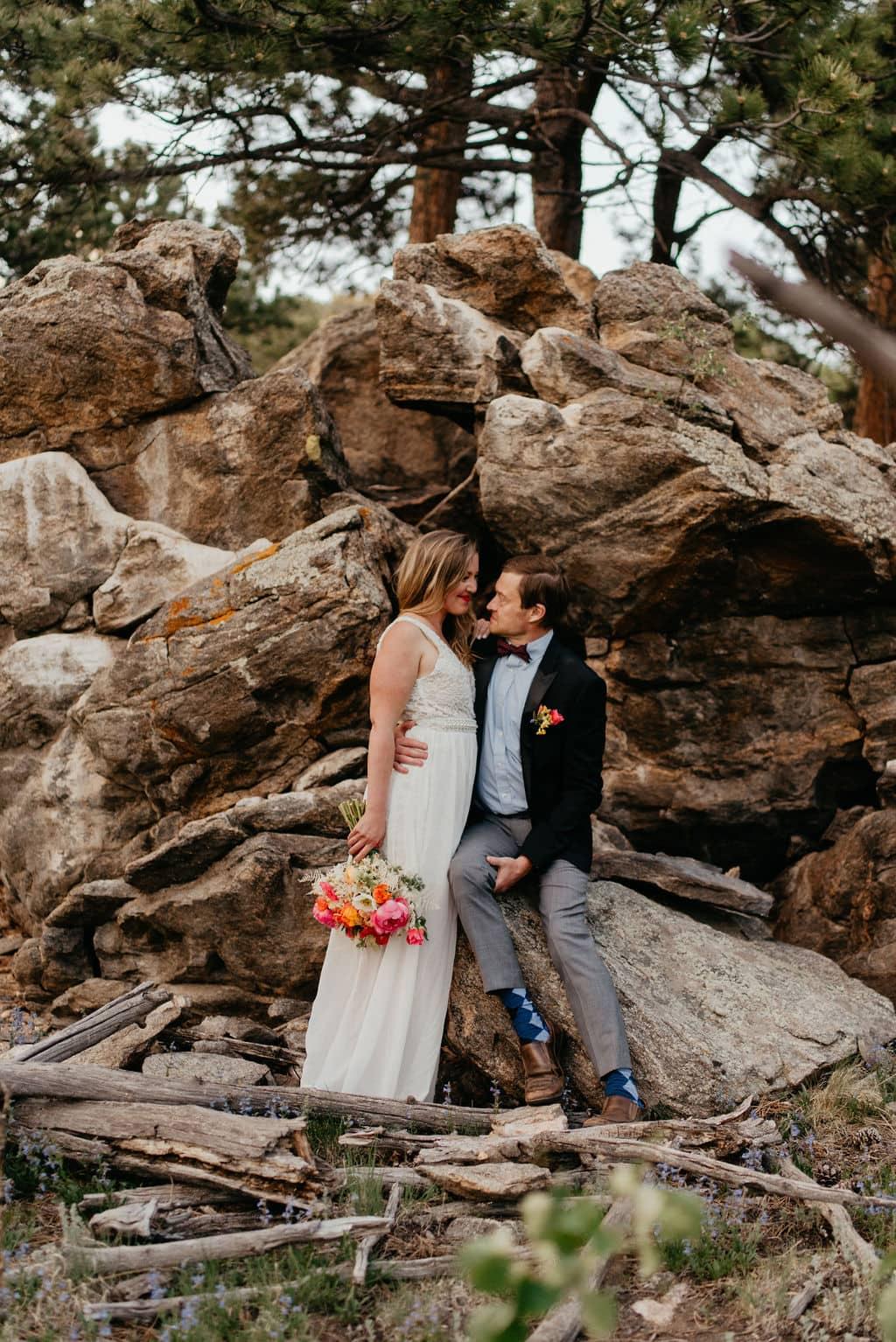 Romantic bride and groom portraits in golden colorado