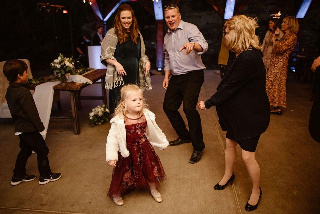 Guests Having Fun At Colorado Campground Wedding