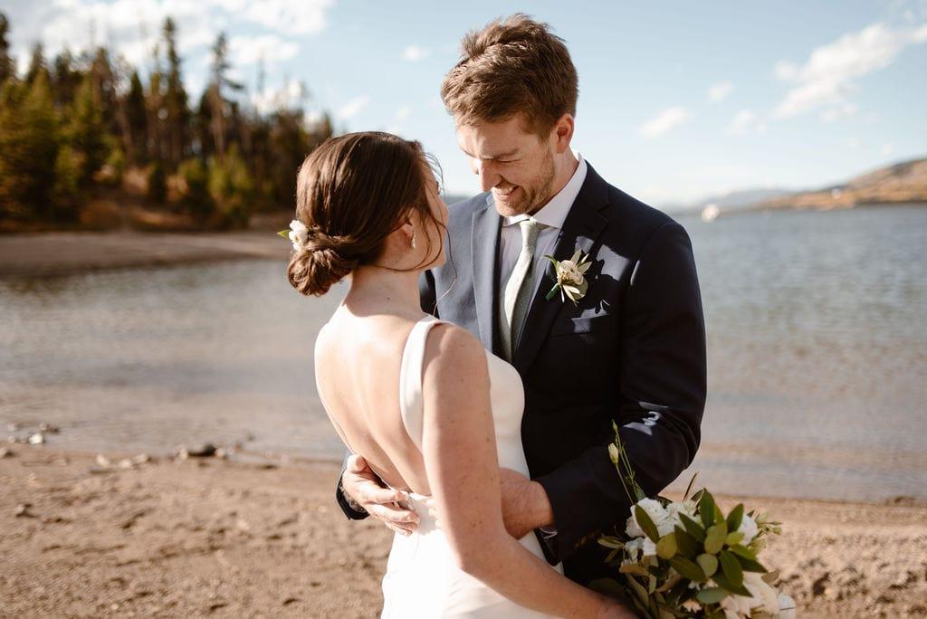 Bride and Groom Wedding Day on Lake Dillon