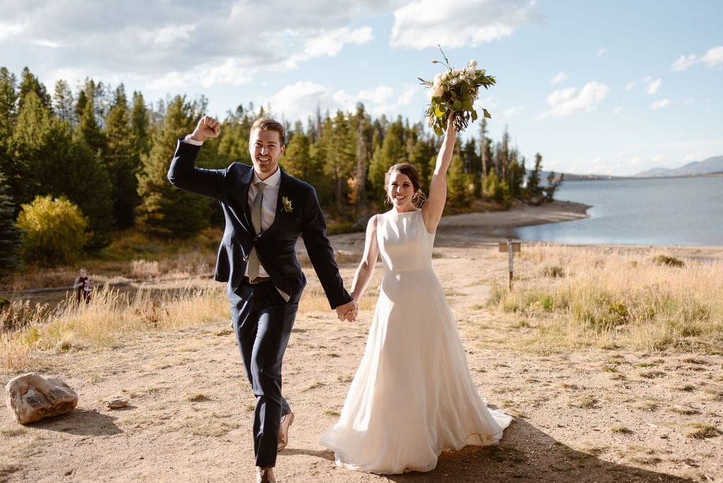Bride and groom at their windy point campground wedding reception