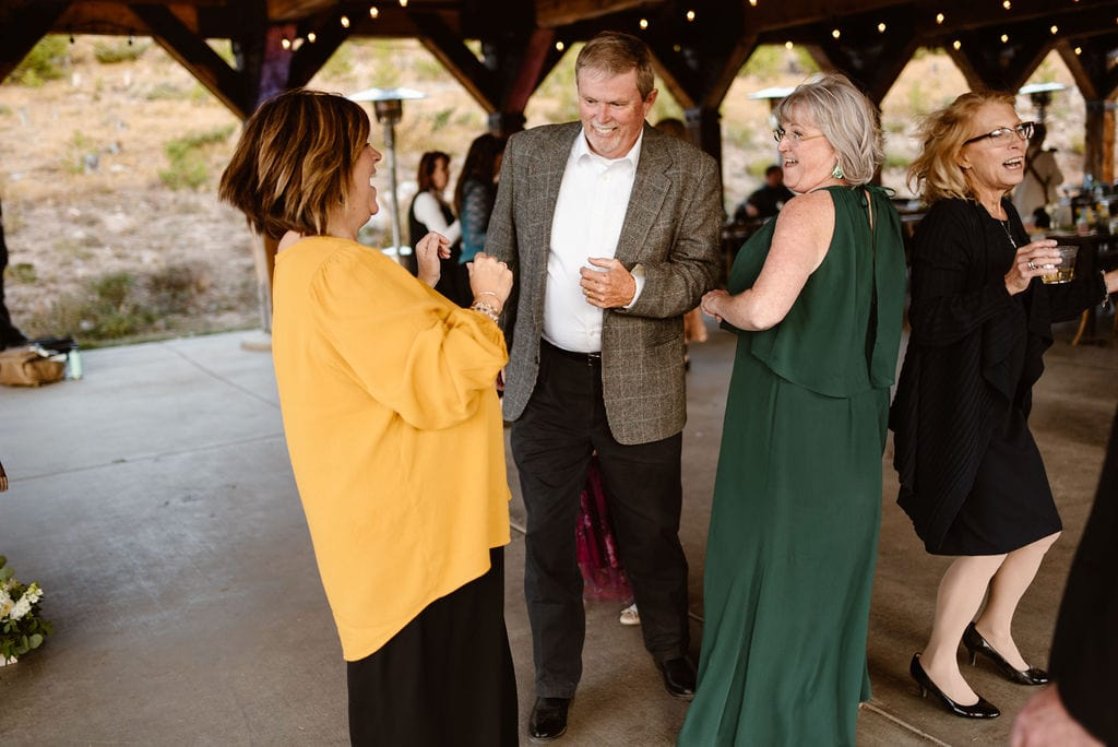 Guests hanging out at Windy Point Campground Wedding Reception