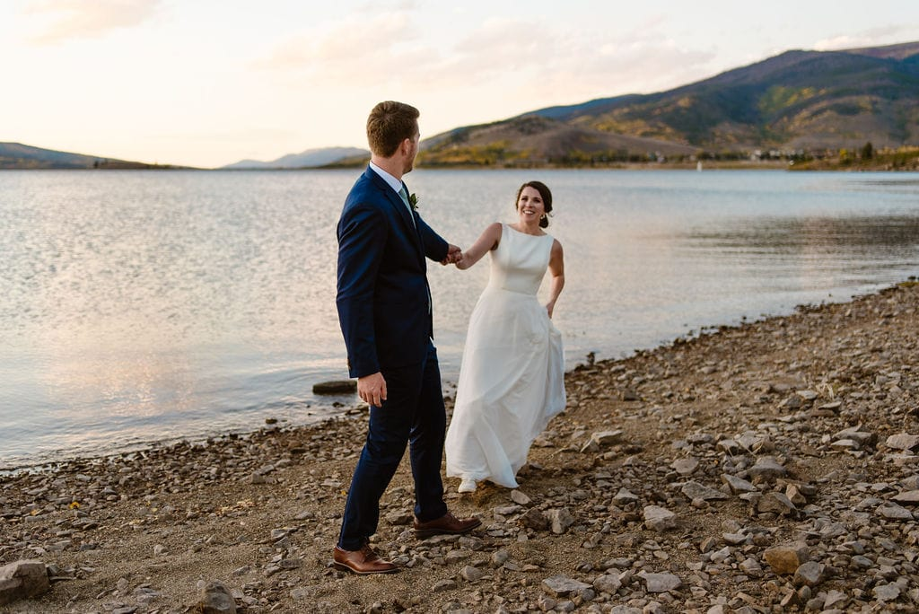 Sunset Wedding Day Portraits on the shore of Lake Dillon