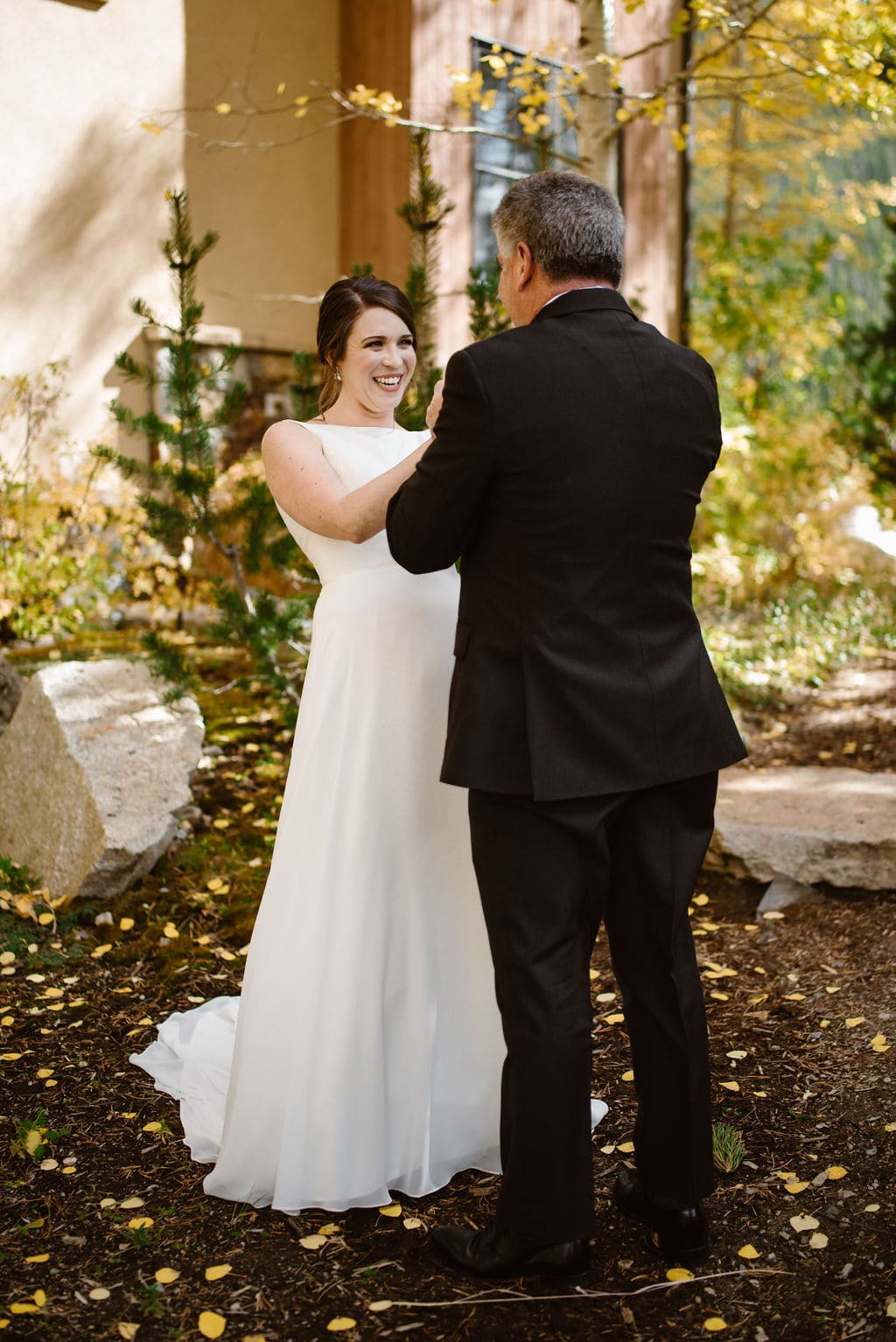Bride and her fathers first look before Windy Point Campground Wedding