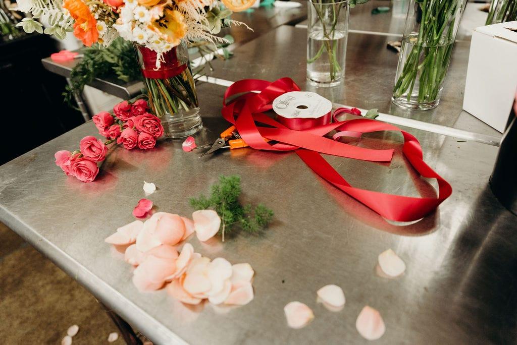 Getting wedding florals ready