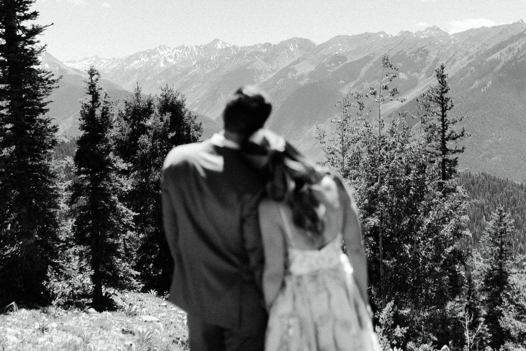 Bride and groom portraits at their Aspen Wedding