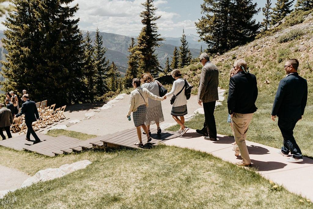 Guests arriving at an Aspen Little Nell Wedding