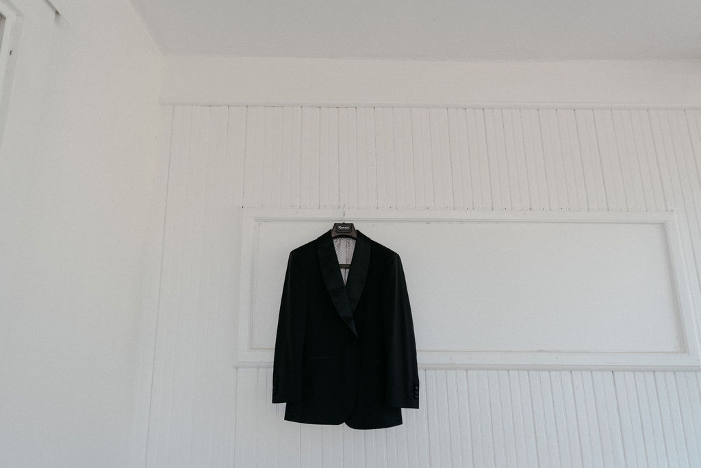 Grooms jacket hanging