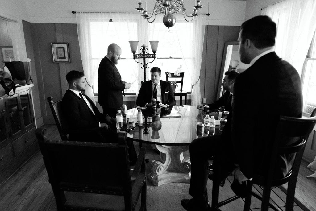 Groom and Groomsmen playing cards