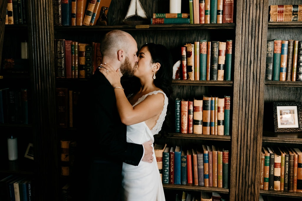 Romantic Wedding Portraits at The Library in The Manor House